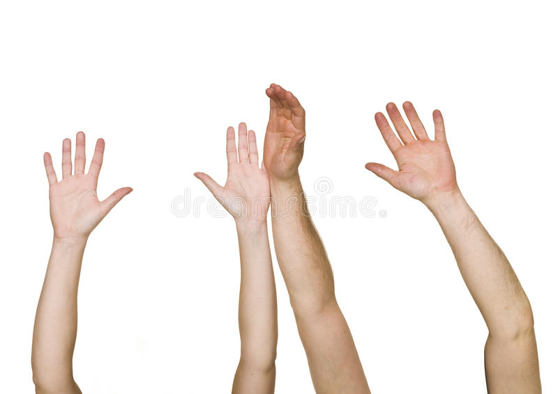 руки подняли Стоковые Изображения RF