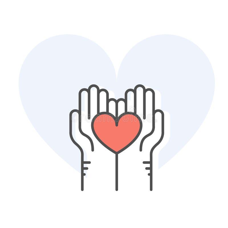 Руки помощи держа сердце - призрение, пожертвование и добровольную помощь бесплатная иллюстрация