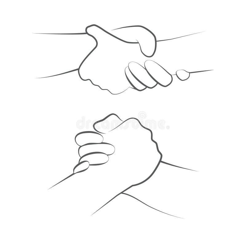Руки помощи на белизне иллюстрация штока