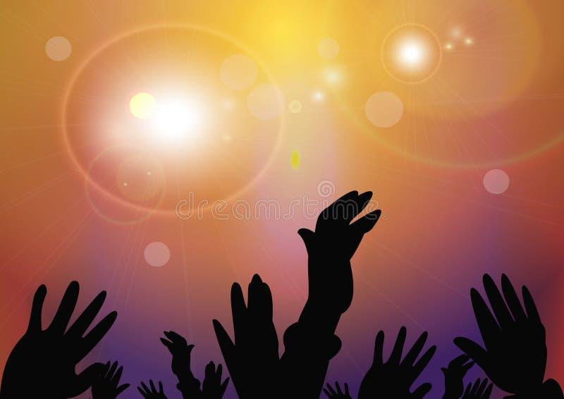 Руки подняли вверх группу людей на концерте иллюстрация вектора