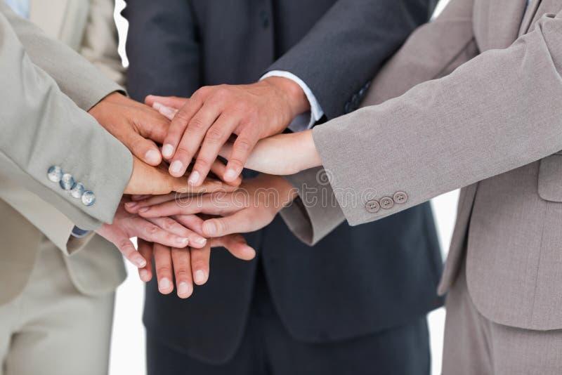 Руки предпринимателей совместно стоковое фото rf