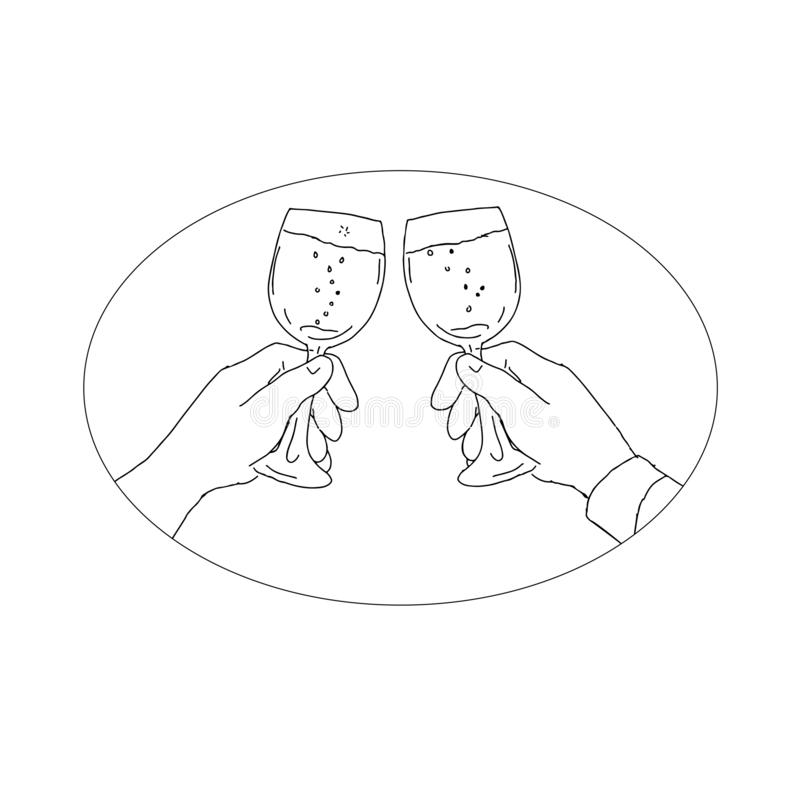 Руки при бокал провозглашать чертеж иллюстрация штока