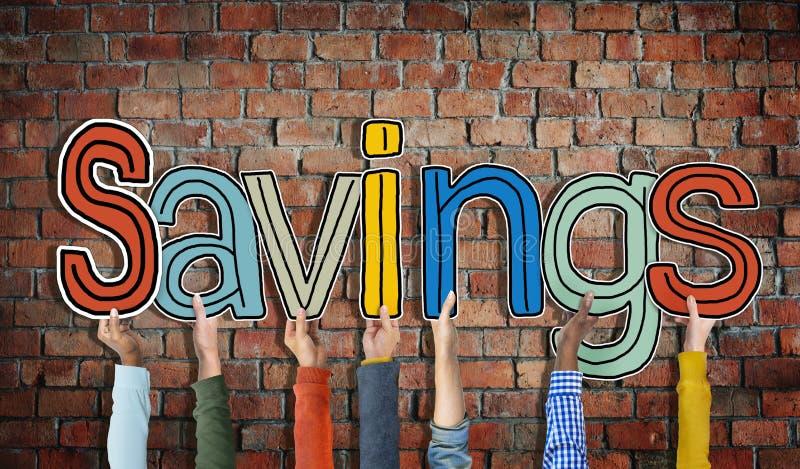 Руки разнообразных людей держа сбережения стоковые изображения rf