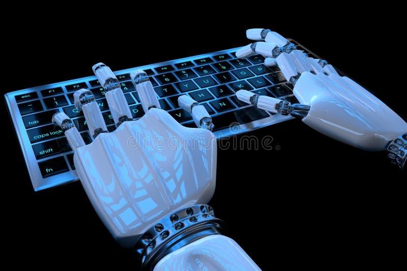 Руки робота печатая на клавиатуре, кнопочной панели Робототехнический киборг руки используя компьютер r иллюстрация вектора