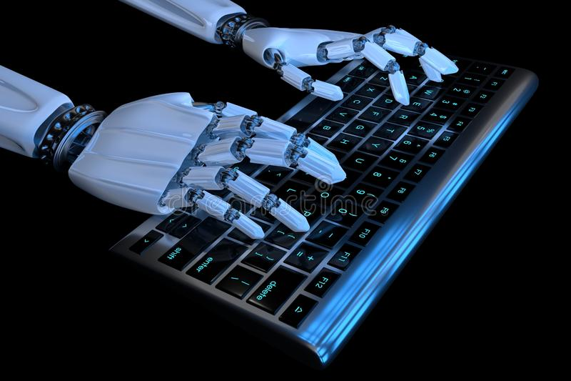 руки робота 3d печатая на клавиатуре, кнопочной панели Робототехнический киборг руки используя компьютер r иллюстрация вектора