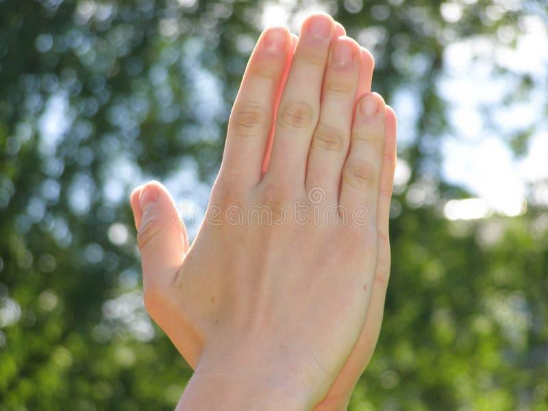 Руки сложены вместе стоковые изображения