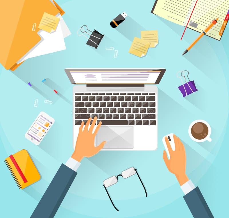 Руки стола рабочего места бизнесмена работая компьтер-книжка иллюстрация вектора
