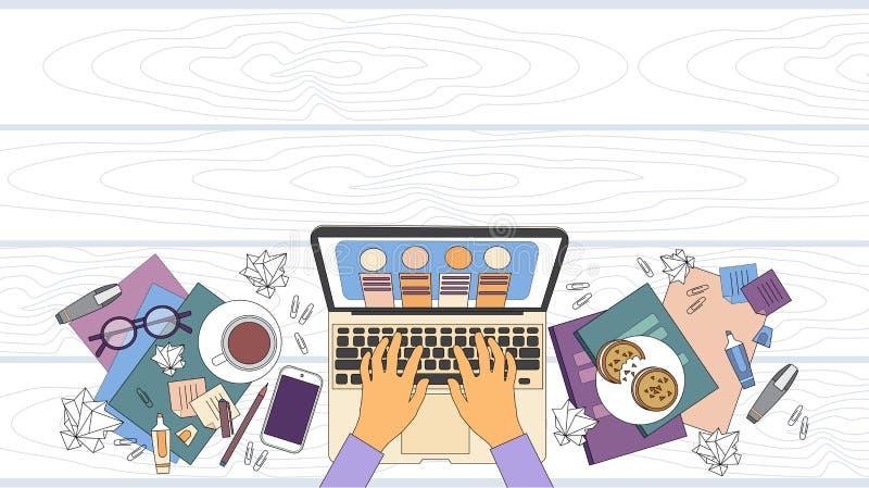 Руки стола рабочего места бизнесмена работая угол компьтер-книжки верхний над космосом копии в деле взгляда иллюстрация вектора