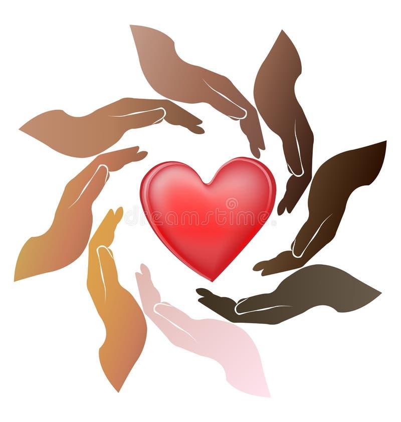 Руки сыгранности заботят сердце иллюстрация вектора