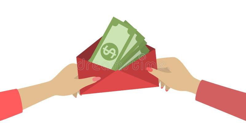 Руки с деньгами иллюстрация штока