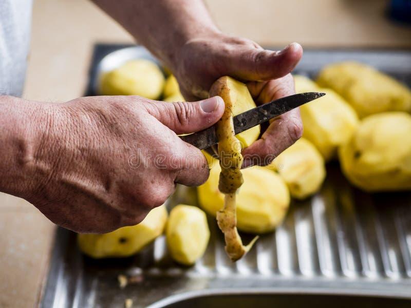 руки слезая картошки стоковое фото