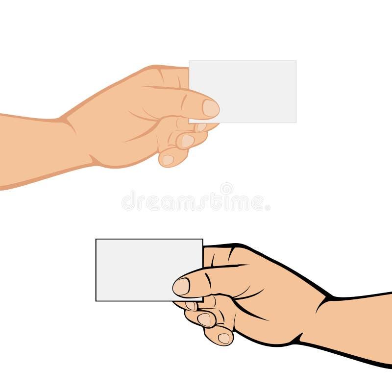 Руки с карточкой на белой предпосылке иллюстрация штока