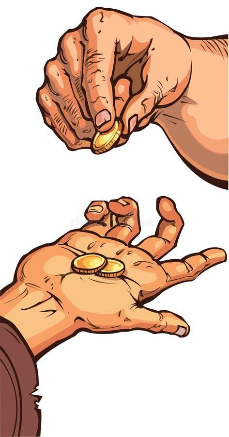2 руки с монетками стоковая фотография