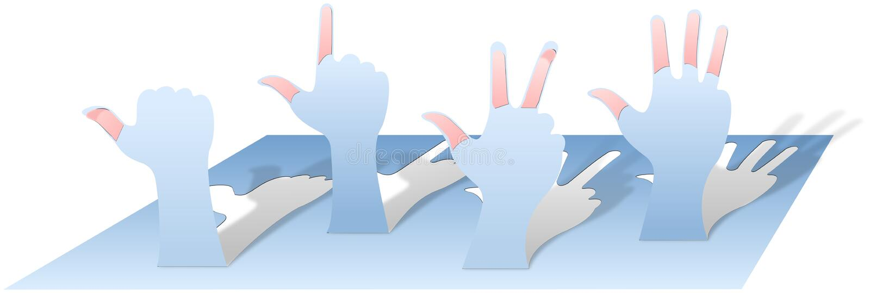 Руки с подсчитывать пальцы cutted и сложили от бумаги бесплатная иллюстрация