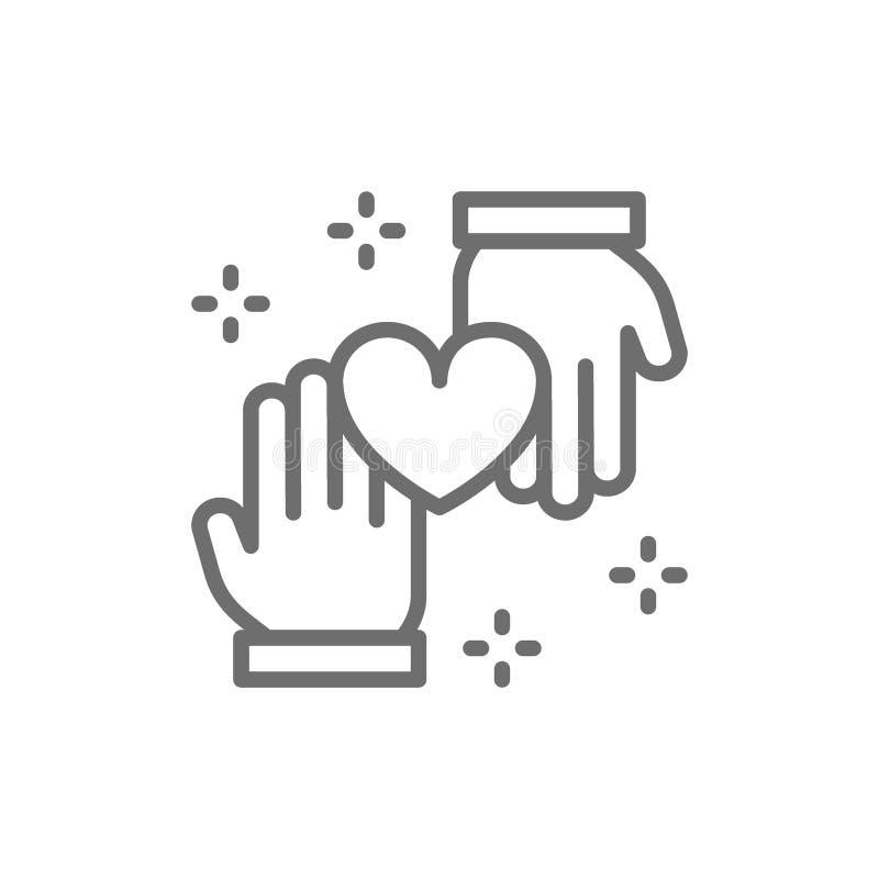 Руки с сердцем, пожертвованием, вызываясь добровольцем, призрением, добрыми делами выравнивают значок иллюстрация вектора