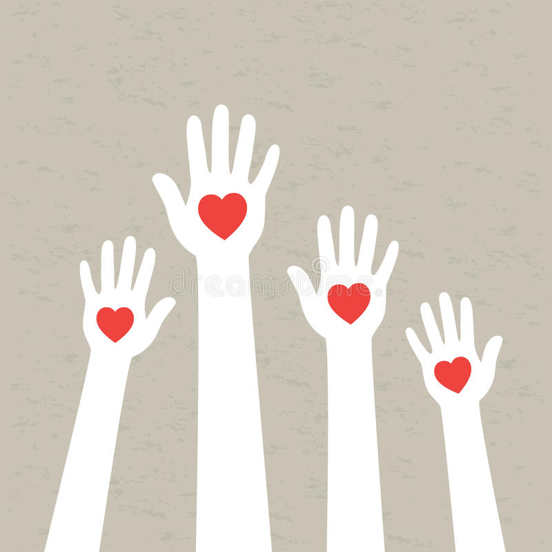Руки с сердцами. иллюстрация вектора