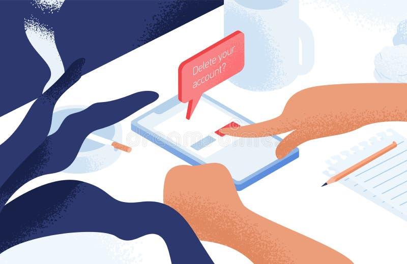 Руки уничтожая счет или профиль из социальной сети на смартфоне лежа на таблице или столе Концепция цифрового вытрезвителя бесплатная иллюстрация