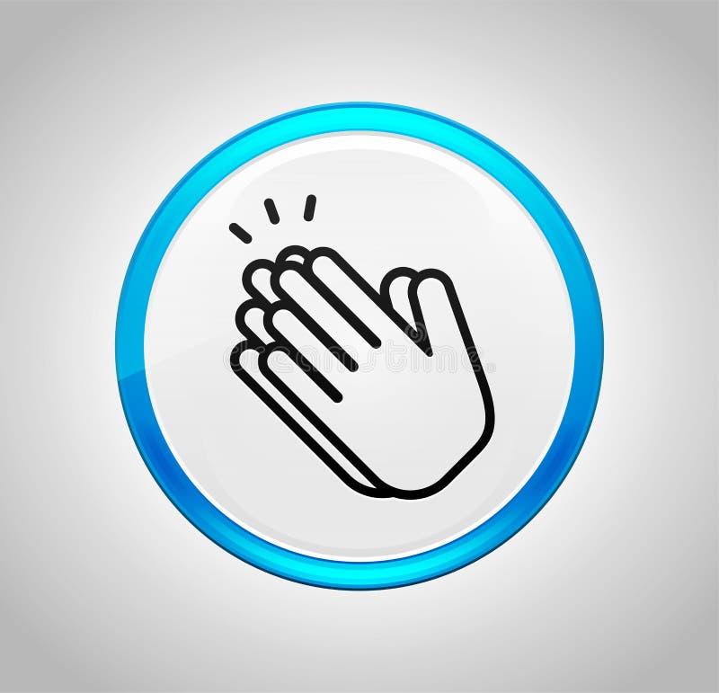 Руки хлопают значок вокруг голубой кнопки бесплатная иллюстрация
