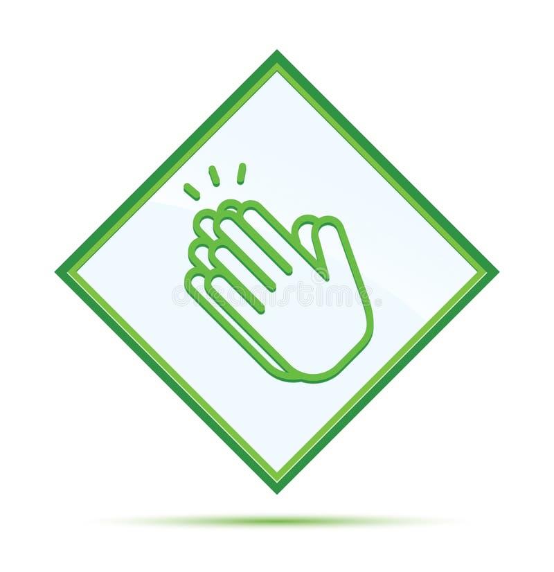 Руки хлопают кнопка диаманта значка современная абстрактная зеленая иллюстрация вектора