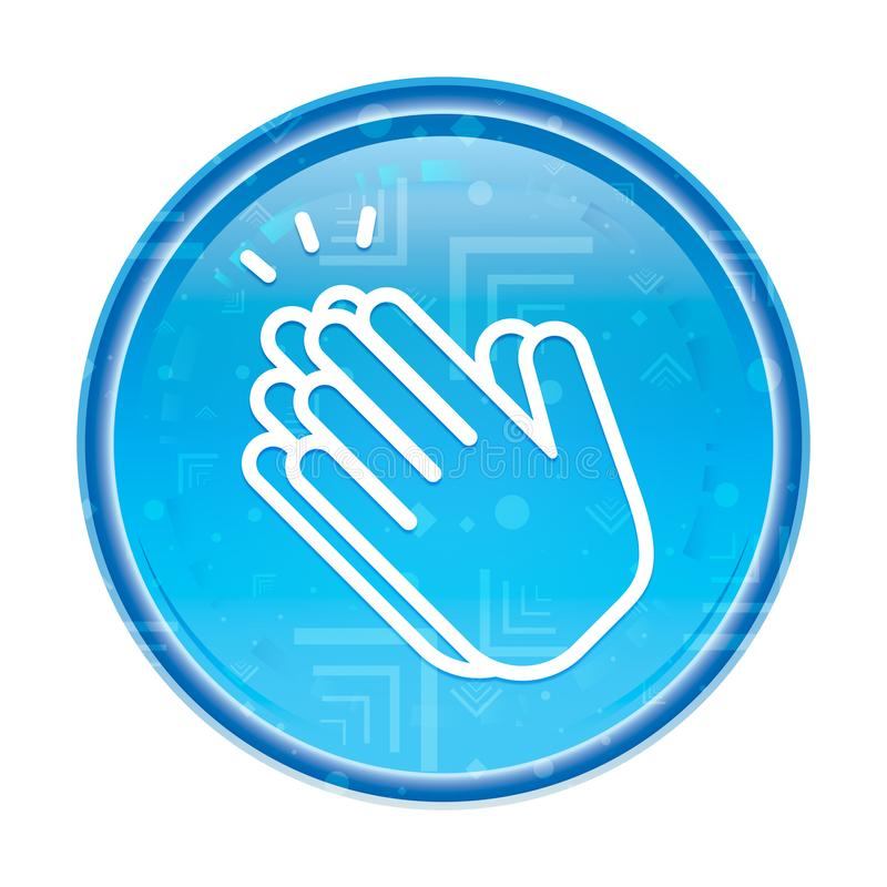 Руки хлопают кнопка значка флористическая голубая круглая бесплатная иллюстрация