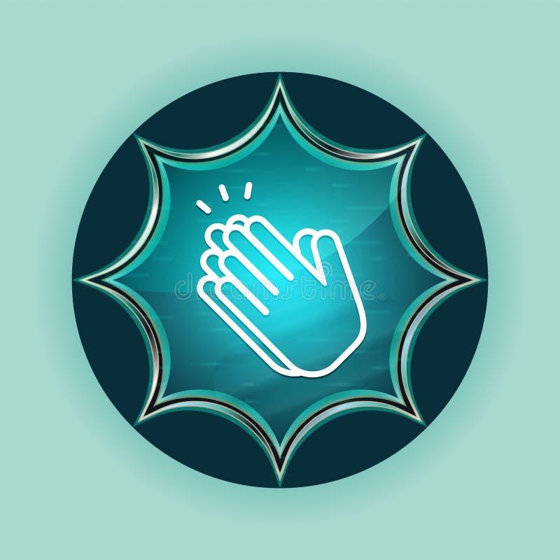 Руки хлопают предпосылка волшебной стекловидной sunburst голубой кнопки значка небесно-голубая иллюстрация штока