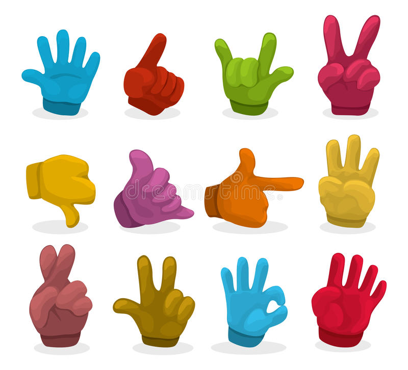 руки цвета собрания шаржа иллюстрация вектора