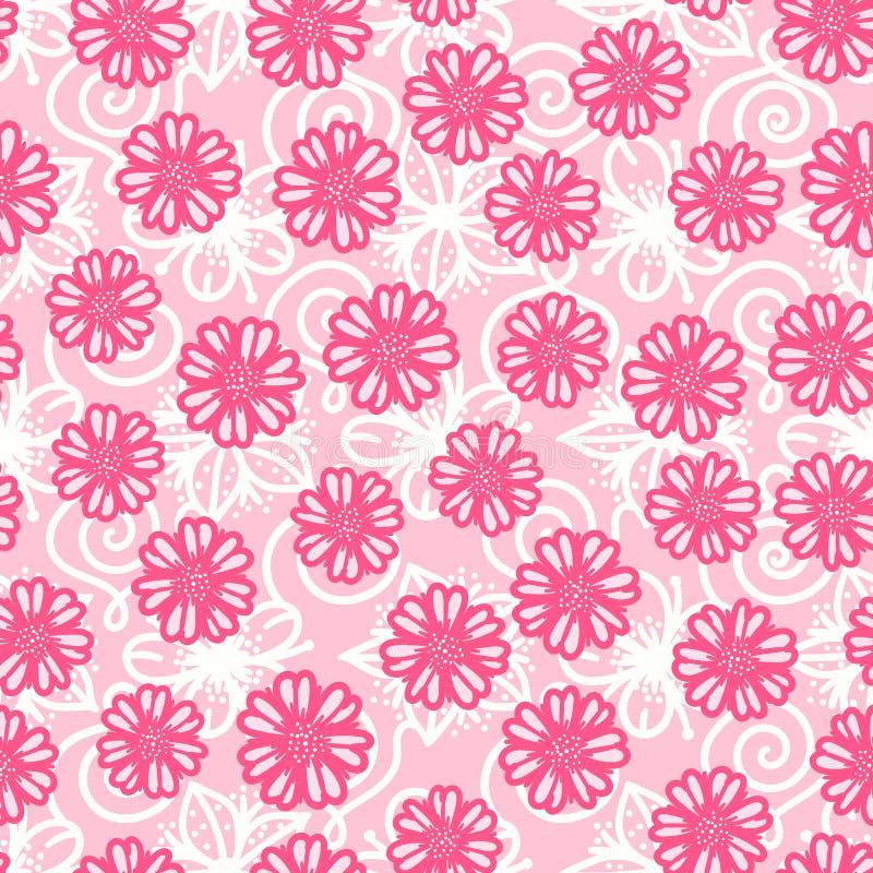 Руки цветка конспекта вектора картина милой розовой вычерченная безшовная иллюстрация вектора