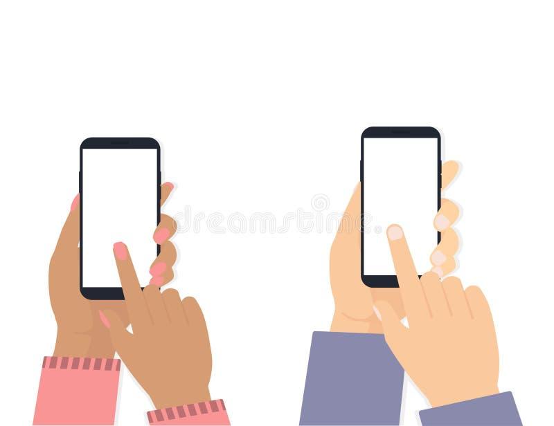 Руки человека и женщины с предпосылкой телефона белой бесплатная иллюстрация