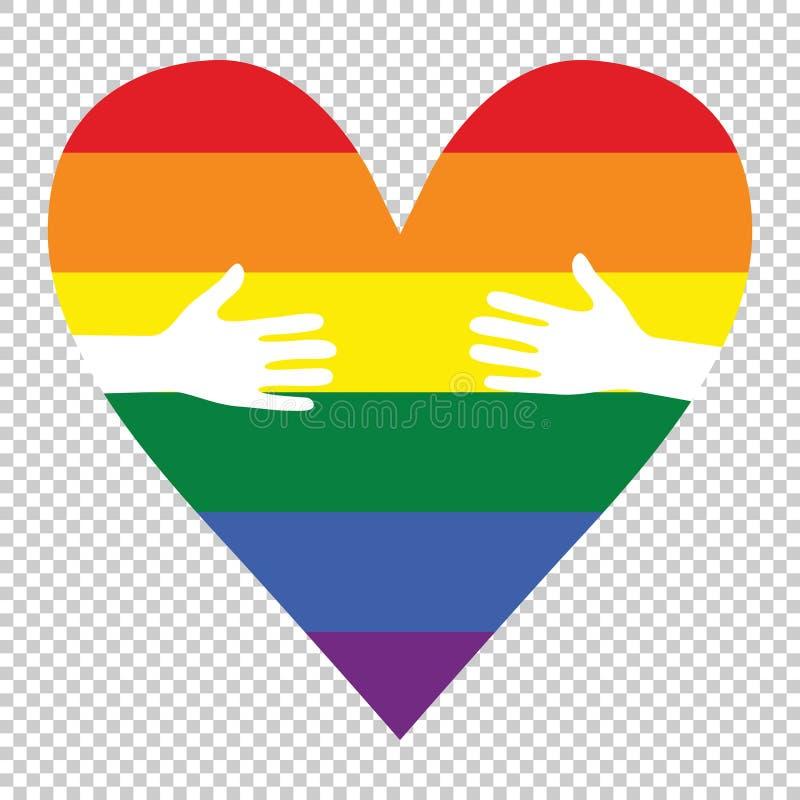 Руки человека сделанные по образцу как флаг радуги формируя сердце, символизируя вектор любов гея иллюстрация вектора