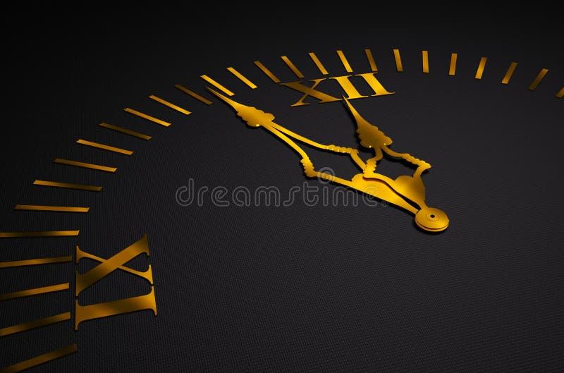 руки черных часов 3d золотистые иллюстрация штока
