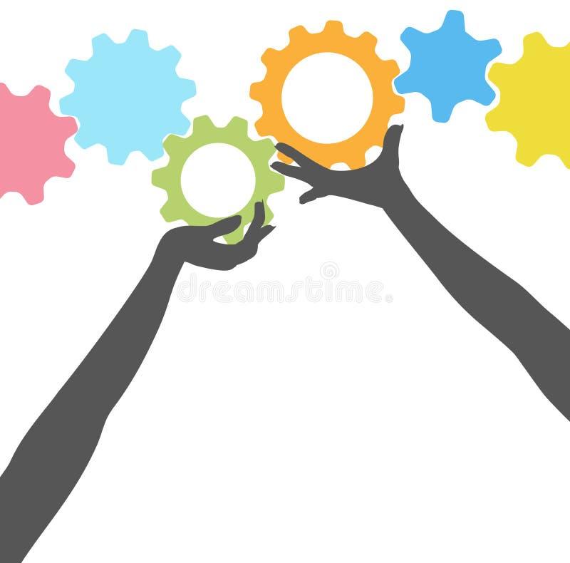 руки шестерен держат технологию людей вверх иллюстрация вектора