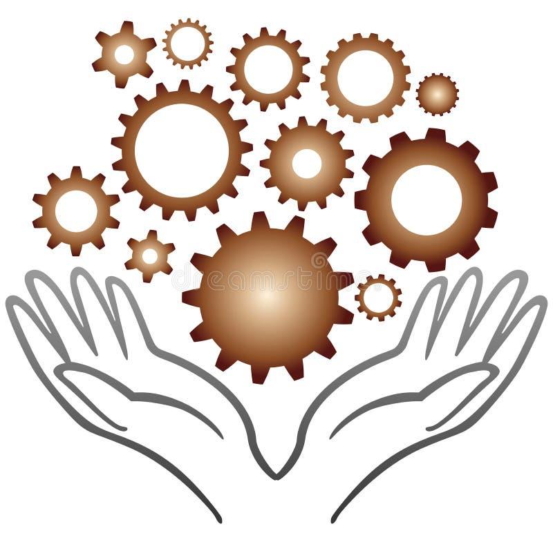 Руки шестерни иллюстрация вектора
