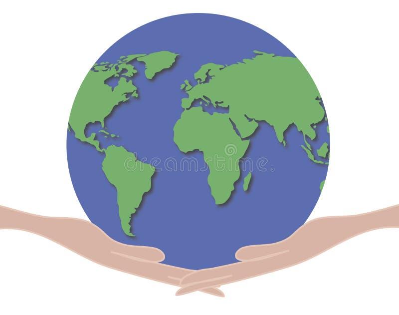руки 1 держа мир иллюстрация вектора