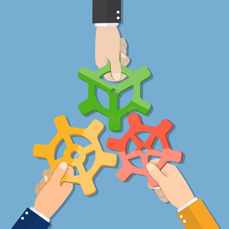 Руки businessmans шаржа соединяя шестерни иллюстрация штока