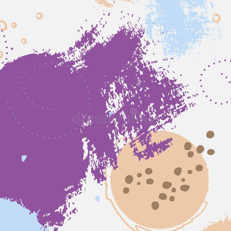 Руки grunge конспекта украшение онлайн фиолетовой вычерченное Картина краски искусства образца пастельная Минимальное настольное  иллюстрация вектора