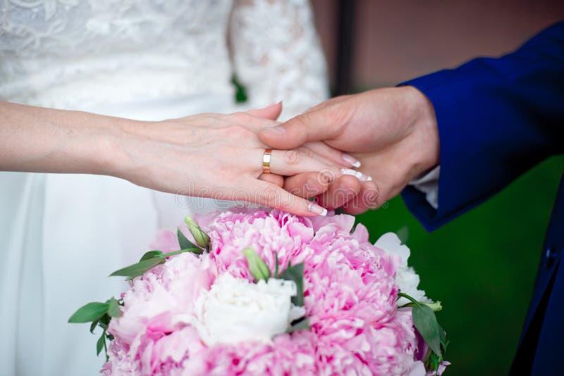 Руки ` s жениха и невеста конца-вверх с обручальными кольцами стоковые изображения rf