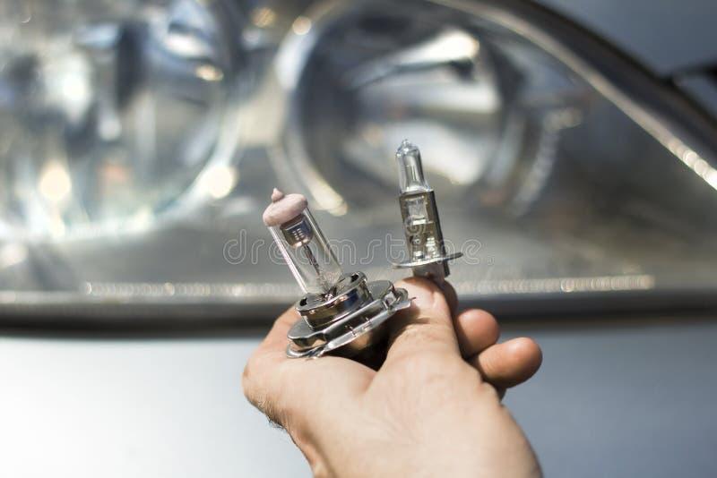 Руки ` s механика держат шарики автомобиля H1 и H7 стоковое фото rf