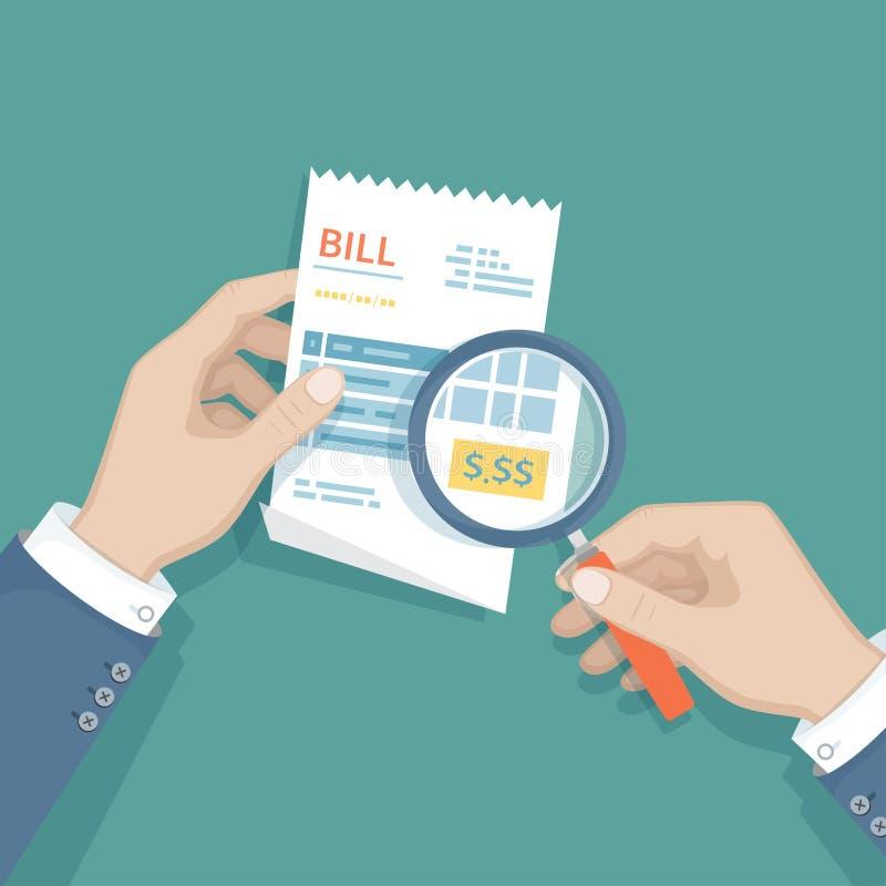 Руки ` s человека с лупой над счетом проверяют оплату Изучать оплачивая счет Оплачивать товары, обслуживание, общее назначение, р иллюстрация штока