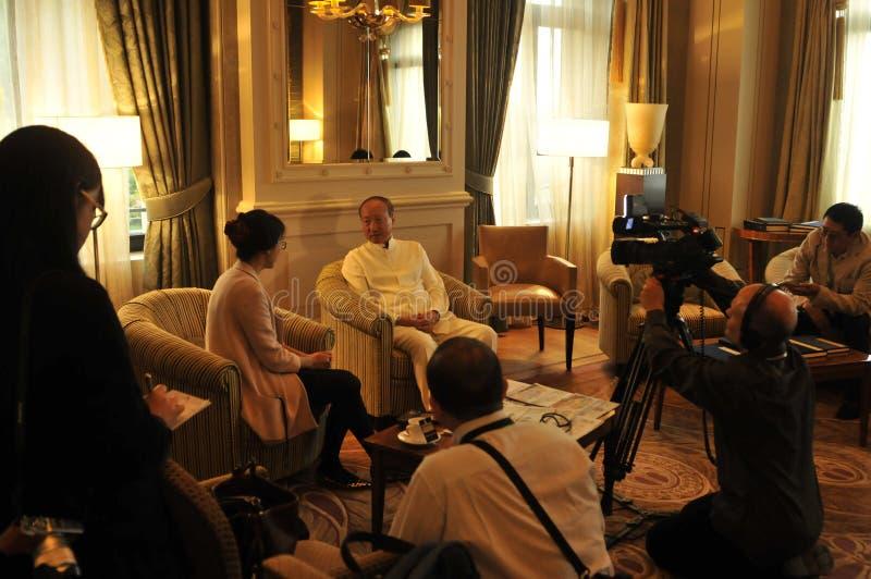 Руководители Chen Feng группы HNA, китайский миллиардер на гостинице Dolder в богачах ¼ ZÃ стоковая фотография
