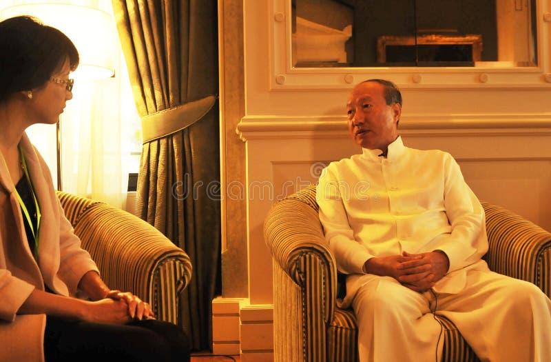 Руководители Chen Feng группы HNA, китайский миллиардер на гостинице Dolder в богачах ¼ ZÃ стоковые изображения