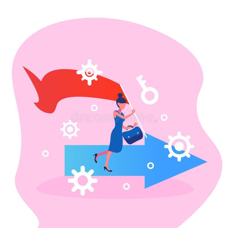 Руководитель группы коммерсантки идущий держа стратегию концепции гонки бизнес-леди назначения стрелки эмблемы революции успешную бесплатная иллюстрация