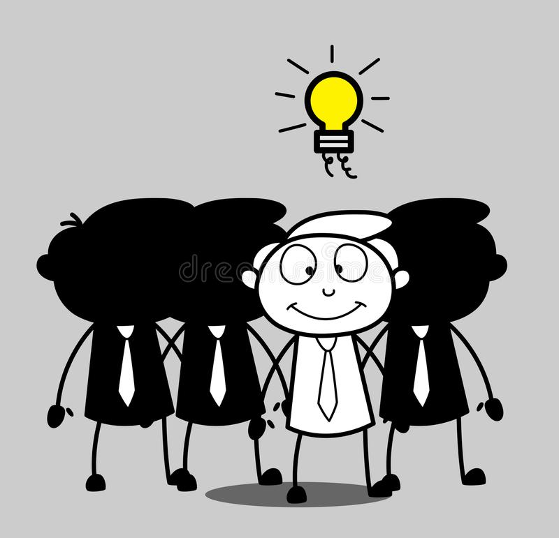 Руководитель группы шаржа получил идею иллюстрация вектора