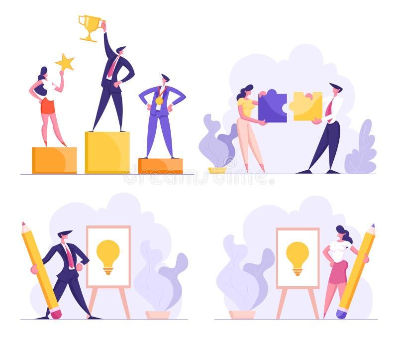 Руководство дела, сыгранность, творческий набор представления идеи Люди офиса, бизнесмен иллюстрация штока