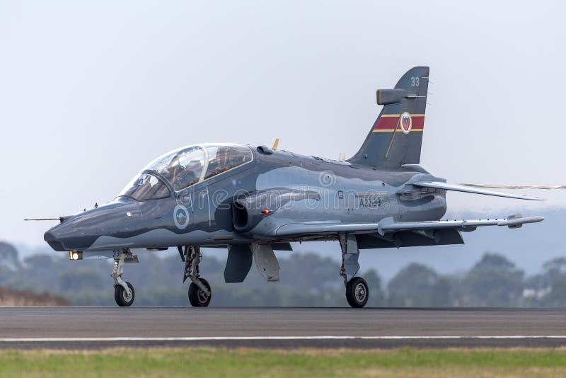 Руководство хоука 127 военновоздушной силы королевского австралийца RAAF BAE в воздушных судн A27-33 учебно-тренировочного истреб стоковые изображения