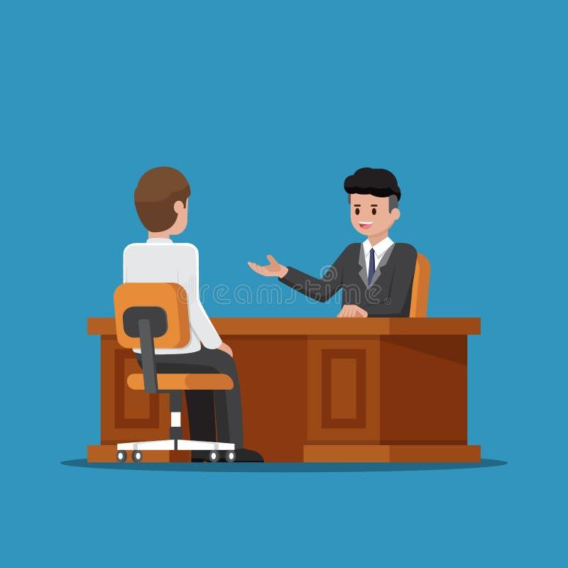 Руководитель бизнеса разговаривая с работником иллюстрация штока