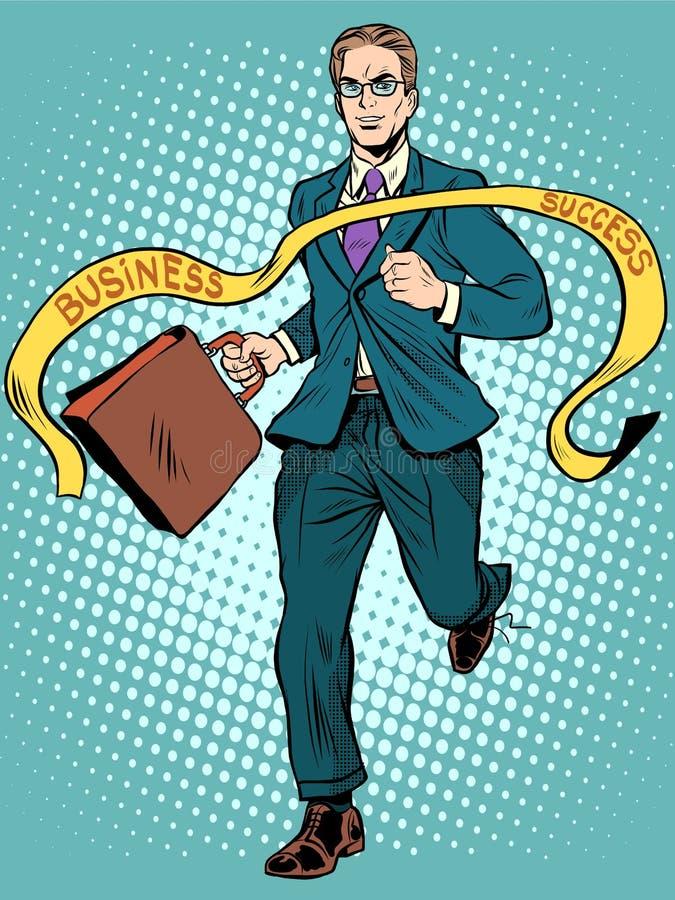 Руководитель победителя бизнесмена финишной черты иллюстрация штока