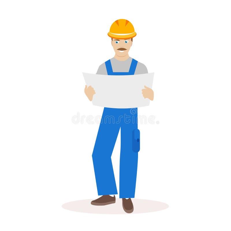 Руководитель построителя или конструкции в шлеме и с конструкцией светокопий в их руках плоский характер иллюстрация вектора