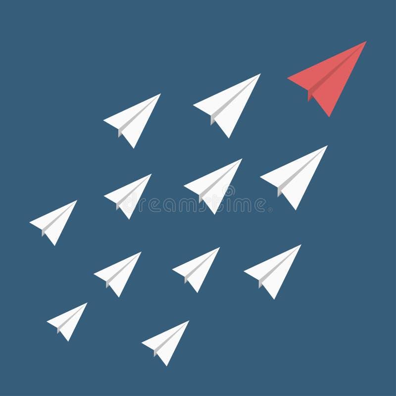 Руководство, стойка из концепции толпы Красный бумажный самолет как руководитель среди других белых бесплатная иллюстрация