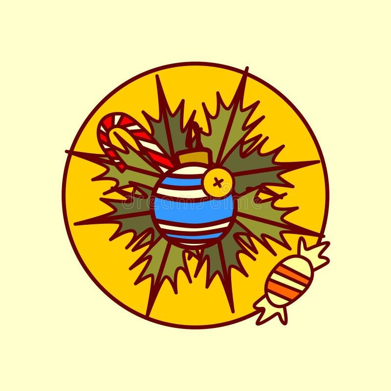 Рукой значка украшения гирлянды с Рождеством Христовым и счастливой собрание зимних отдыхов концепции Нового Года нарисованное иллюстрация вектора