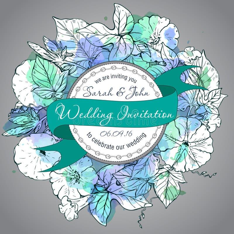 Рукой приглашения свадьбы зеленой и белой вьюнок нарисованный цветет иллюстрация штока